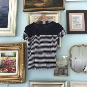 J.Crew linen blue and white stripe t-shirt